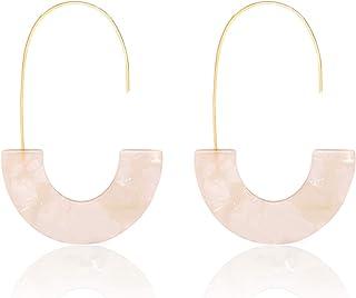 MOLOCH Acrylic Earrings Statement Tortoise Hoop Earrings Resin Wire Drop Dangle Earrings Fashion Jewelry for Women