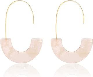 Acrylic Earrings Statement Tortoise Hoop Earrings Resin Wire Drop Dangle Earrings Fashion Jewelry for Women