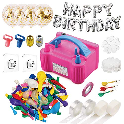 214 Pcs Balloon Pump Set- Electric Air Balloon Blower Pump, Balloon Inflator 110V 600W Portable Dual Nozzles - Balloon Decorating Strip Kit for Arch Garland + 32Ft Balloon Tape Strip, 2 Tying Tool, 200 Dot Glue, 10 Ballon Flower Clip, 3 Rolls Colored Ribb