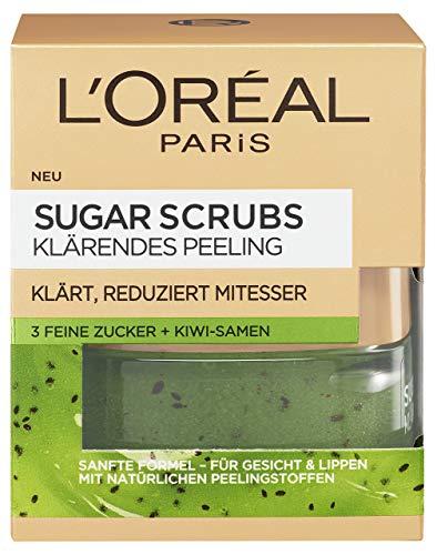 L\'Oréal Paris Sugar Scrubs Klärendes Gesichtspeeling, sanftes Peeling mit natürlichen Zuckerkristallen und Kiwi-Samen, reduziert Poren und Mitesser, 50ml