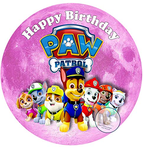 Für den Geburtstag ein Tortenbild Zuckerbild mit dem Motiv: Paw Patrol, Essbares Foto für Torten, Tortenbild, Tortenaufleger Ø 20cm - Super Qualität, 0185w