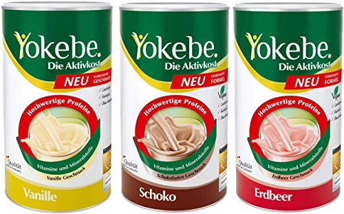 Yokebe Schoko Pulver 500 g + 500 g Erdbeer Pulver + 500 g Vanille Pulver neue Formel
