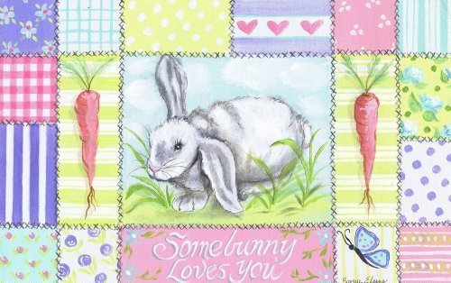 The Kids Room by Stupell Somebunny Loves You with Carrots and Patchwork Border by The Kids Room by Stupell