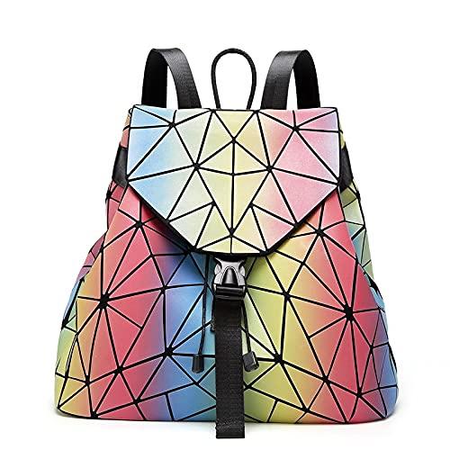 QIANJINGCQ nuevo diamante al aire libre arco iris reflectante color cambiante bolsa de computadora mochila escolar para estudiantes