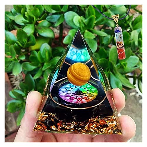 HCHL Pirámide de orgonita, Tigre Amarillo Globo Ocular Natural obsidiana aplastada Piedra orgonita pirámide 60mm El Juego de pirámide de Cristal con generador de e (Color : A, tamaño : 60X60mm)