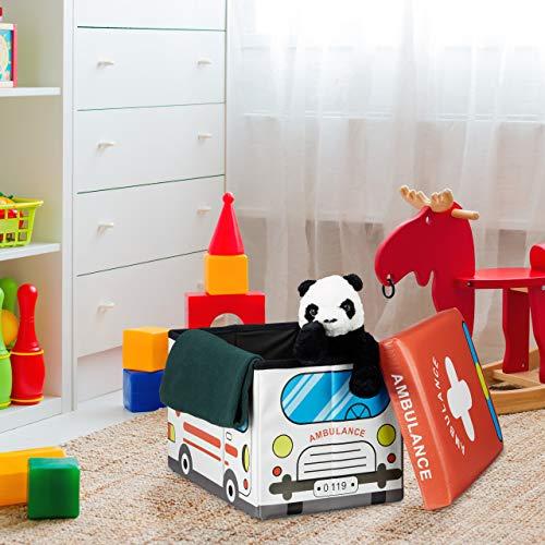 """Relaxdays faltbare Spielzeugtruhe mit Sitzpolster """"Krankenwagen"""", 48x32x32cm - 2"""