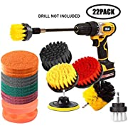 Drill Brush and Scrub Pads,JOQINEER 22 Pieces Drill Brush Attachment Set with Long Reach Attachment in Box for Bathroom Shower Scrubbing, Carpet Cleaning, Grout Scrubbing, and Tile Cleaning(22pcs)