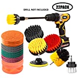 JOQINEER 22 Pieces Drill Brush Scrub Pads 2 Attachment Set with Long Reach Attachment in Box for Bathroom Shower Scrubbing Car Clearing Home Clean