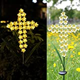 HDNICEZM Solar Cross Garden Lights Outdoor Decorative - Solar Metal Cross Yellow Hydrangea Flower Stake Lights Waterproof 28 Warm White LEDs for Remembrance Gifts & Sympathy Gifts..