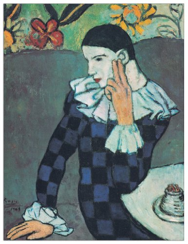 Artopweb Pannelli Decorativi Picasso Arlecchino Pensoso Quadro, Legno, Multicolore, 31x1.8x40 cm (Cucina)