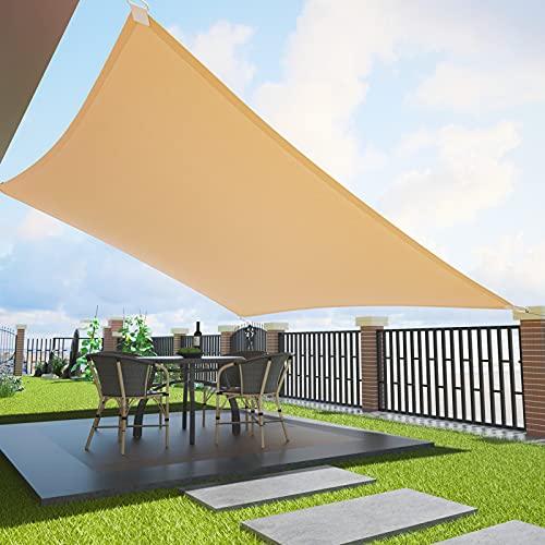 Duerer Toldo Vela de Sombra Rectangular 3x4M, 95% de Protección UV, 185GSM Densidad para Patio, Jardín, Pérgola, Patio Trasero - Color Arena