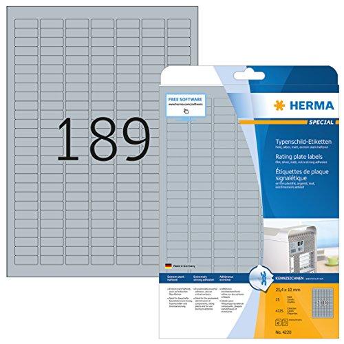 HERMA 4220 Typenschild Folien-Etiketten DIN A4 (25 x 10 mm, 25 Blatt, Polyesterfolie, matt) selbstklebend, bedruckbar, extrem stark haftende Klebefolie, 4.725 Klebeetiketten, silber