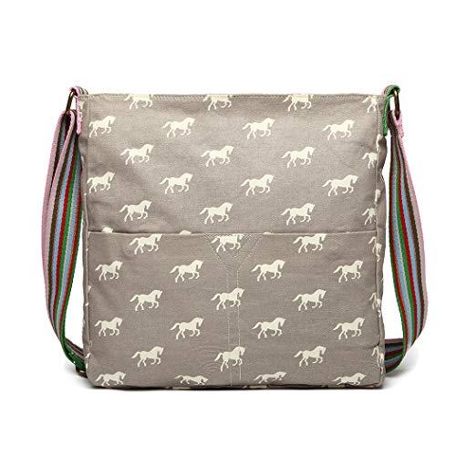 Miss Lulu Messenger Bag School Bag Horse Canvas Crossbody Satchel Shoulder Bag Girls (L1104H Grey)
