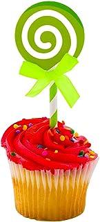 "Top Cake Green Paper Swirl Lollipop Cake Topper - Neon Green Bow - 5 1/4"" x 2"" - 10 count box - Restaurantware"