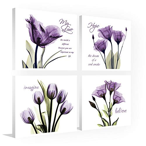 Sweety Decor Purple Canvas Wall Art Painting - Flickering Flower Quotes Sayings Inspirational Wall Art for Home Decor, 12 x 12in x 4Panels