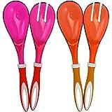 com-four® Set di 4 server per insalata in arancione e rosa per servire le tue deliziose insalate (04 pezzi - arancione/rosa)