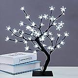 Huapa 48 LED Lámpara De Mesa De La Flor De Cerezo De La Luz del árbol De Los Bonsais, Decorativa Lámpara De Mesa De Estilo Bonsái Lámpara De Navidad para Boda Dormitorio Sala De Estar