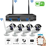 SmartSF 720P 8CH HD Wireless Security Camera System WiFi NVR Kit CCTV Surveillance Systems,(4) 1.0MP Outdoor/Indoor Weatherproof Bullet IP Cameras,65ft Night Vision, P2P,Motion Detection,NO HDD
