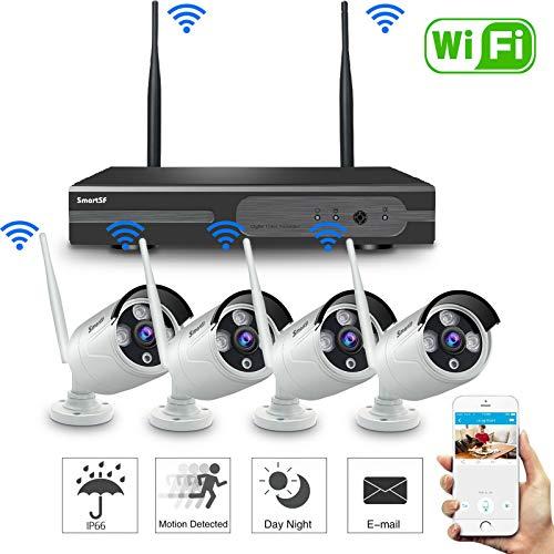 Anni 8CH 720P WLAN Überwachungskamera Set mit HD NVR Kit Wifi Surveillance Systems,4x1.0 MP Megapixel Wetterfestes Wireless Outdoor Bullet IP...