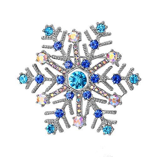 Cadoline Blue-Tone 4.0 x 3.5cm Silver Blue Crystal Snowflake Christmas Brooch Light Snow Pin Badge