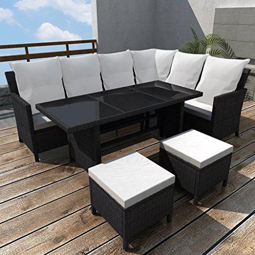 furnituredeals Ensemble canapé de jardin 14 pièces pour 8 personnes en polyrotin noir.Ce lot de haute qualité sont robuste et résistant.Idéal pour jardins et extérieur