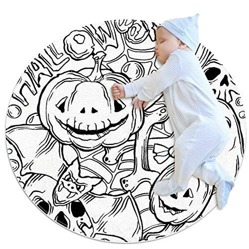 KAIXINJIUHAO Halloween-Muster mit Horror-Elementen, Kindergarten-Babyteppich, rund, warm, weich, rutschfest, 70 x 70 cm, multi, 100x100cm/39.4x39.4IN