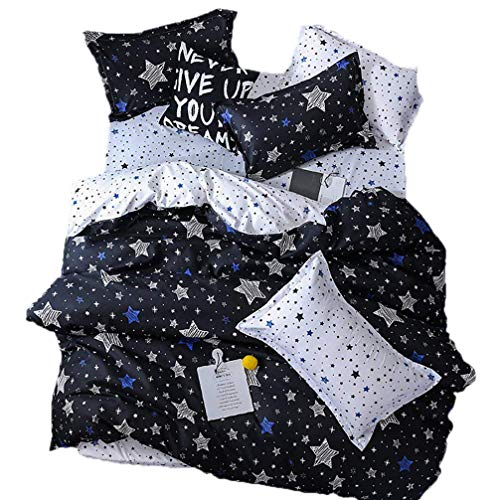 Sookie 3 Piece Duvet Cover Set with Zipper Closure,White and Blue Pentacle Printed Pattern with Twinkling Stars in The Sky(Include 1 Duvet Cover 2 Pillow Shams,-Twin,Black)