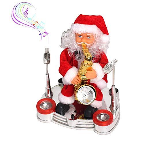 8 zoll Musical Weihnachten Weihnachtsmann Puppe, Elektrische Musik Weihnachtsmann Spielen Saxophon Ornament Spielzeug für Weihnachten Tischdekoration, Kinder Weihnachtsgeschenk