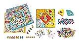 JANOD- Coffret Multi Jeux carrousel (Bois et Carton), J02742, Jaune/Bleu
