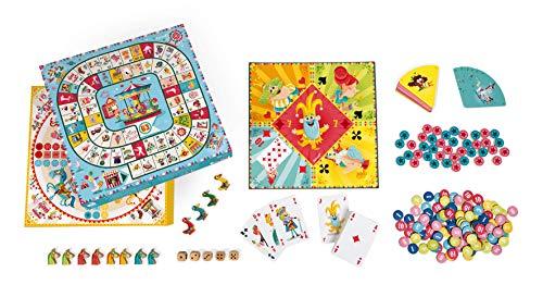 Janod - J02742 - Caja de múltiples juegos familiares clásicos con diseño de tiovivo: juego de damas, Ludo, Yellow Dwarf, juego de las 7 familias y juego de la oca para niños a partir de 5 años