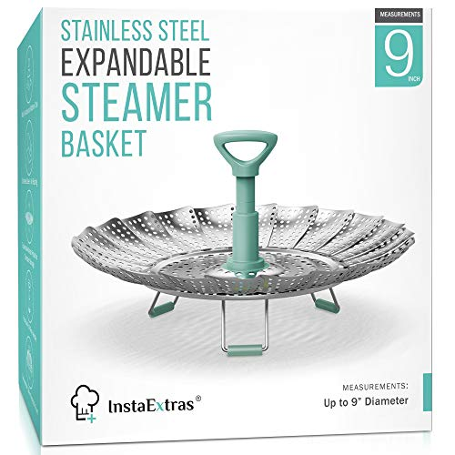 Stainless Steel Expandable Steamer Basket - Collapsible Steam Cooking Insert For Steaming Food, Vegetable - Compatible With Instant Pot 3 6 8 Qt, Pressure Cooker, 5-9 Inch Adjustable Fits Any Size Pan