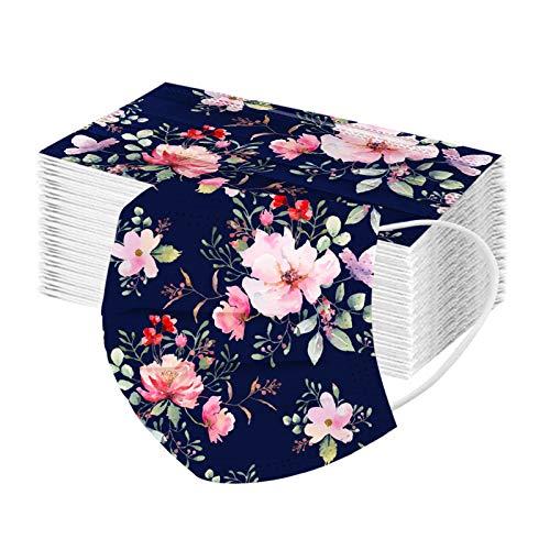 RUITOTP 10/50pcs Unisex Erwachsene Protektor Blume Schal – Mode Universal niedlich Print 3 Schicht elastische Earloop weichen Schal für Frauen Männer-21130-29