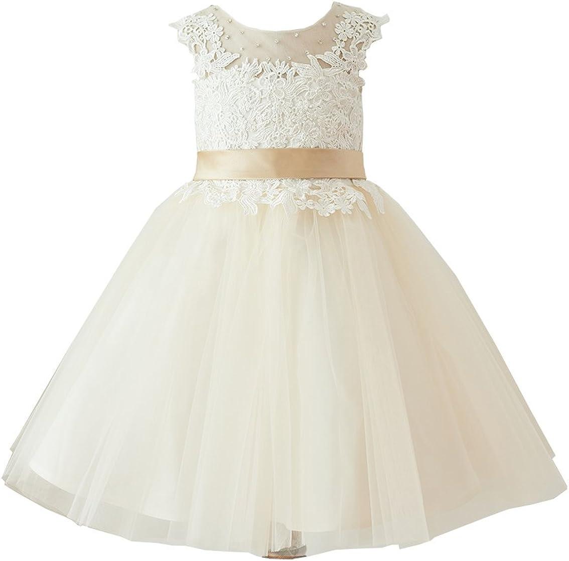 Miama Ivory Lace Champagne Tulle Keyhole Back Wedding Flower Girl Dress Junior Bridesmaid Dress