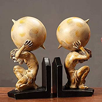 FHKBK Bookends Heavy Resin Book Holder Home Retro Bookends Atlas Holding The World Statue Bookends Collectibles - Ideal Bedroom Study Office Desk Decoration