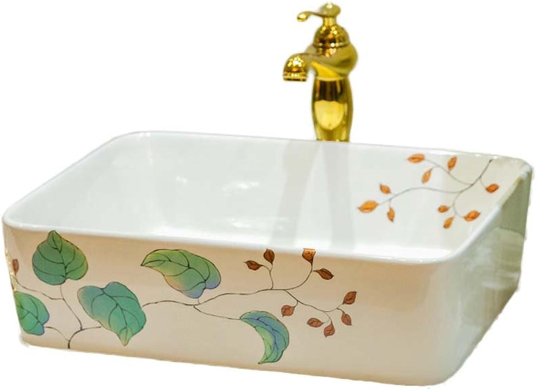 WINZSC Badezimmer Einfache Keramik Waschbecken Kunst über Zhler Becken Waschbecken Waschbecken über Zhler Basin Square LO618537