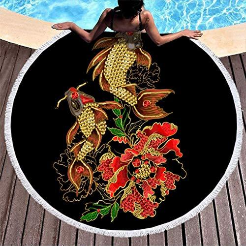 AEMAPE Koi Fish Flower Toalla de Playa Manta de Playa de Microfibra Redonda Grande con borlas Manta de Picnic Manta de Playa Tapiz de Tela de Mesa Negro 59 Pulgadas