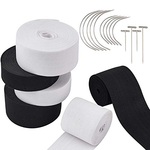 Beadthoven 6 Rolls 78ft Flat Knitting Elastic Bands 1', 1-1/2' and 2' Wide with 10Pcs Curved Needles and T Pins Steel Needles for Wigs Sewing Pants Clothes Size Modify