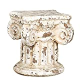 Creative Co-op Distressed Terracotta Column Pedestal, 7 in. H x 6.25 in. W x 6.25 in. D, Cream