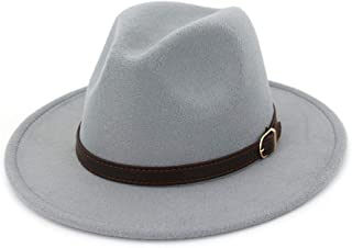 UwantC Men Women s 100% Wool Fedora Panama Hat Wide Brim with Belt Vintage Jazz  Hat a0b9abc11a49