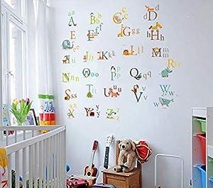 ملصق كارتون 26 الأبجدية الإنجليزية ملصق حائط التعليم للأطفال ملصق جدار المدرسة الصف ورق جدران كارتون الأبجدية الإنجليزية ملصقات الحائط غرفة النوم غرفة المعيشة ملصق الحائط