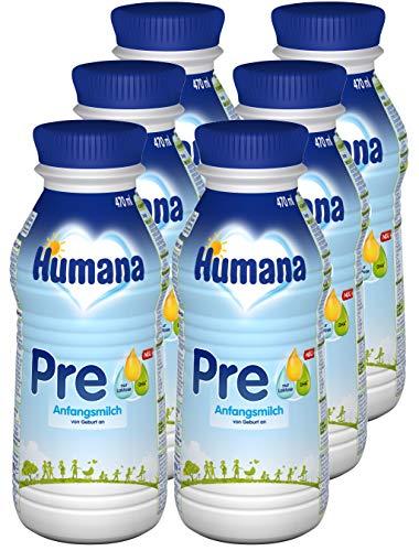 Humana Anfangsmilch PRE, Babynahrung zum Zufüttern und als alleinige Pre-Nahrung, trinkfertige Babymilch im praktischen Fläschchen, von Geburt an, 6er Pack (6 x 470 ml)