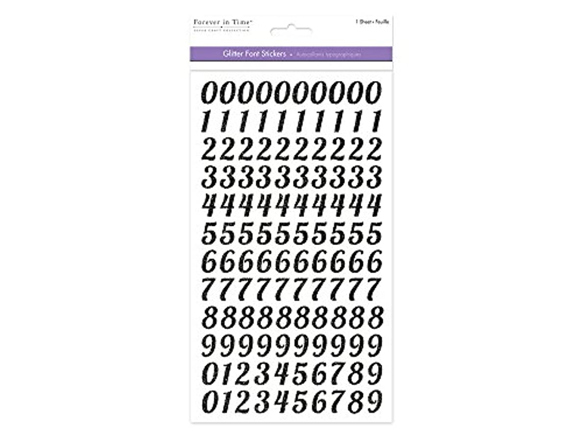 Forever in Time SS288F Glitter Number Font Stickers, 5.71inx10.23in, Blk