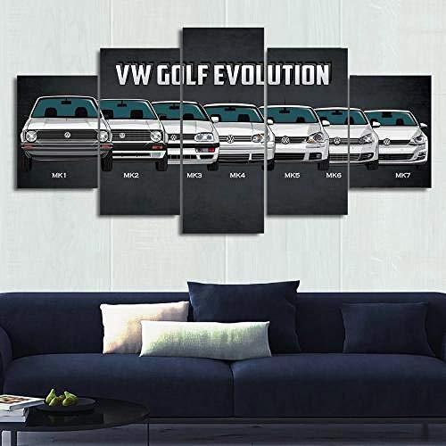 GIRDSSC Leinwanddrucke Kreatives Geschenk 5 Stück Leinwand Bilder Moderne Wandbilder XXL Wohnzimmer Wohnkultur Vw Golf Evolution Malerei Kunstwerk 150X80 cm