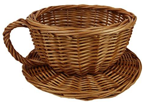 Rieten theekop en schotel Novelty Gift Basket - 20cmx10cm hoog - KLEIN