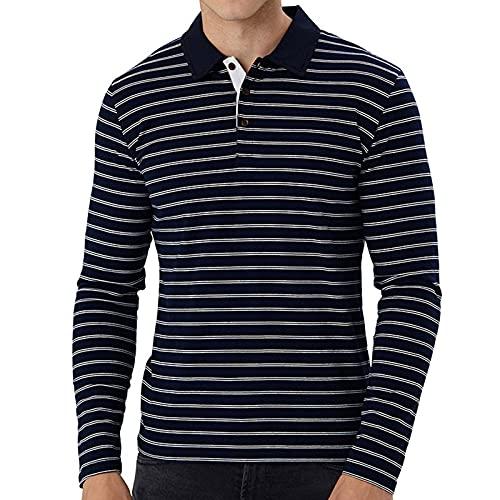 Herren Poloshirt Langarm-T-Shirt Polo-Shirt für Männer mit Knopfleiste Men Outdoor Atmungsaktiv Polohemd Pullover für Golf Tennis Freizeit Polo Shirts Sport und Busines (Navy, L)