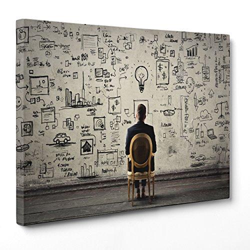 Quadro su Tela Canvas - INTELAIATO - Pronto da Appendere - Motivazionale - Idee Idea Psicologia - Marketing - 100x152cm - Senza Cornice - (cod.2242)