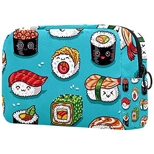 Sac De Voyage Cosmétique Nourriture Japonaise De Sushi Sac De Rangement pour Artiste Pochette À Glissière Organisateur Cosmétique De Voyage pour Femmes Et