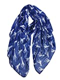 GERINLY Giraffe Pirnt Scarf Lightweight Voile Wrap for Fall Winter Festival Costume Accessory Head Cover (Navy Blue)