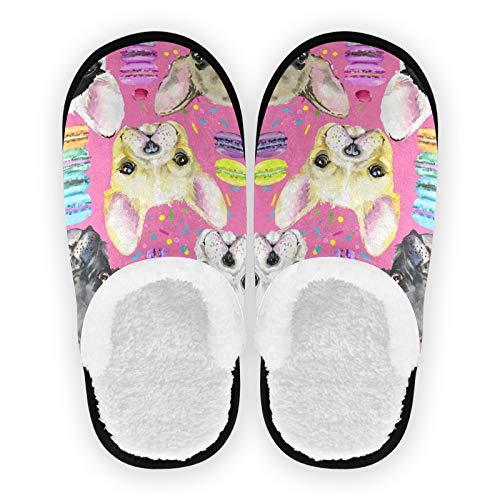 linomo Bonitas zapatillas de casa de bulldog francés, para mujeres, hombres, niños, mujeres, pantuflas de casa, para estar por casa, para el dormitorio, para viajar, color Multicolor, talla 35/39 EU