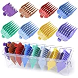 Professional Clipper Guards Guides Compatible with Most Wahl Clippers,8 Color Coded Hair Cutting Guides Combs #3170-400- 1/8 Inch to 1 Inch,with Organizer